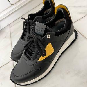 Mens Fendi Black/Yellow Leather Monster Studded Sneakers